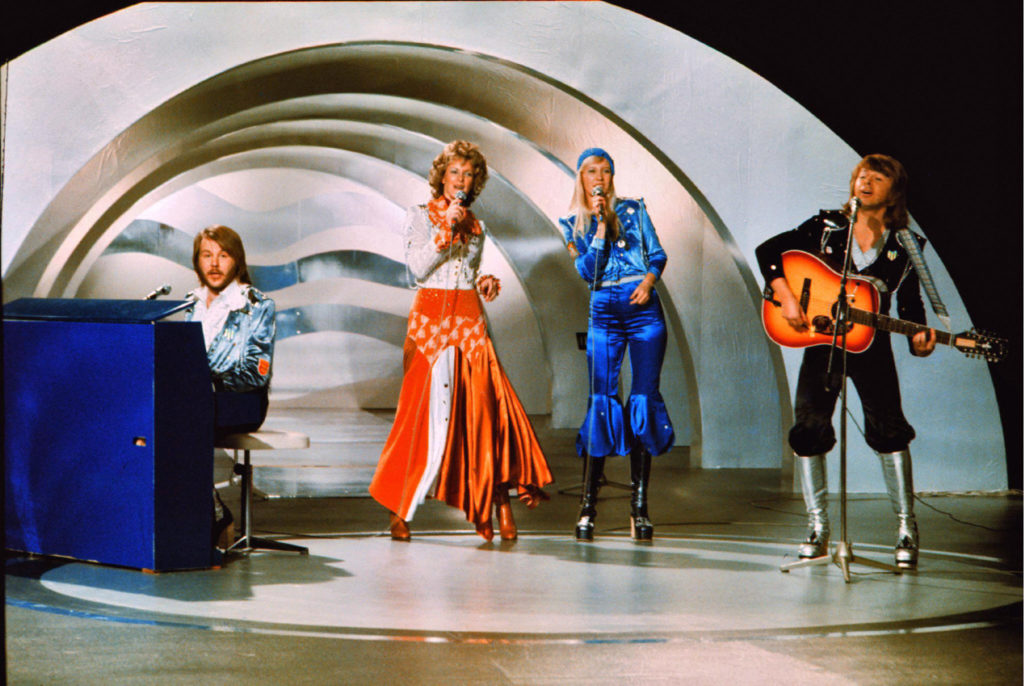 """ABBA perform """"Waterloo"""" during during the Eurovision Song Contest in Brighton, England, in 1974. (Olle Lindeborg/AFP/Getty Images)"""