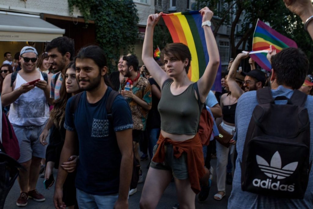 ISTANBUL, TURKEY - JUNE 25: LGBT supporters march towards Taksim Square on June 25, 2017 in Istanbul, Turkey. The 2017 LGBT Pride March was banned by authorities for the third year. Organisers defied the order and people attempted to march to Taksim Square but were met by a heavy police presence and the crowd was dispersed by tear gas and several people were arrested.