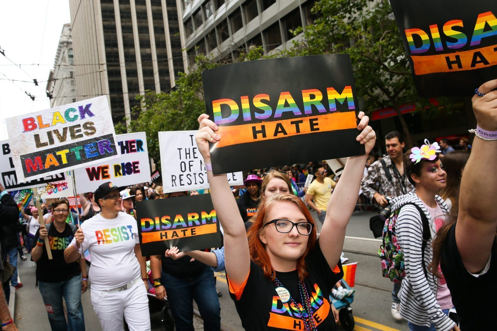 SAN FRANCISCO, CA - JUNE 25: A contingent from the Brady Campaign to Prevent Gun Violence participates in the annual LGBTQI Pride Parade on Sunday, June 25, 2017 in San Francisco, California. The LGBT community descended on Market Street for the 47th annual Pride Parade. (Photo by Elijah Nouvelage/Getty Images)