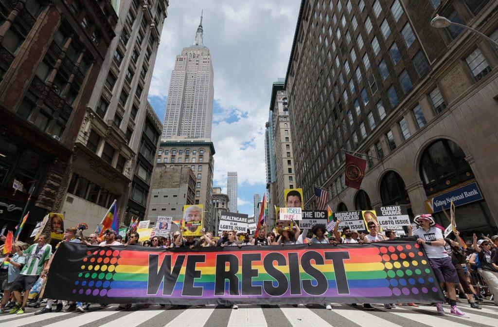 NEW YORK, NY - JUNE 25: A general view during the New York City Gay Pride 2017 march on June 25, 2017 in New York City. (Photo by Dimitrios Kambouris/Getty Images)