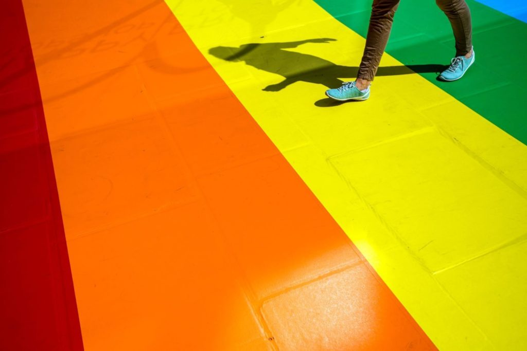 A Rainbow painted pavement for London Pride 2017