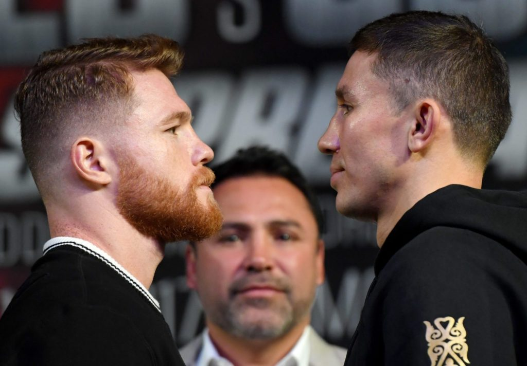 LAS VEGAS, NV - SEPTEMBER 13: Canelo Alvarez (L) and WBC, WBA and IBF middleweight champion Gennady Golovkin face off during a news conference at MGM Grand Hotel & Casino on September 12, 2017 in Las Vegas, Nevada. Golovkin will defend his titles against Alvarez at T-Mobile Arena on September 16 in Las Vegas. (Photo by Ethan Miller/Getty Images)
