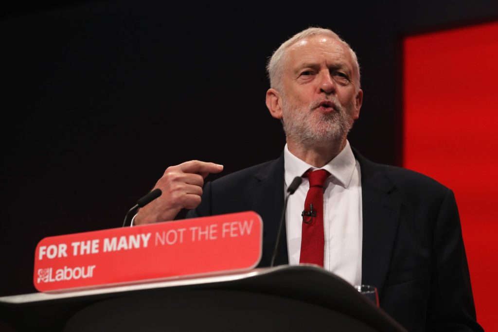 BRIGHTON, ENGLAND - SEPTEMBER 27: Labour Leader Jeremy Corbyn addresses delegates on the final day of the Labour Party conference on September 26, 2017 in Brighton, England. Mr Corbyn is expected to speak about his party's new policies and present Labour as a government in waiting in his keynote address. (Photo by Dan Kitwood/Getty Images)