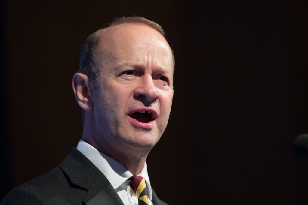 TORQUAY, ENGLAND - SEPTEMBER 30: Newly elected UKIP leader Henry Bolton makes his leader's speech at their autumn conference being held at the Riviera International Centre on September 30, 2017 in Torquay, England. Bolton is the UKIP party's fourth leader in just over a year. (Photo by Matt Cardy/Getty Images)