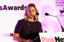 LONDON, ENGLAND - OCTOBER 18: Joint winner of the Politician of the Year award, Justine Greening, Secretary of State for Education, speaks on stage during the Pink News Awards 2017 held at One Great George Street on October 18, 2017 in London, England. (Photo by John Phillips/Getty Images)