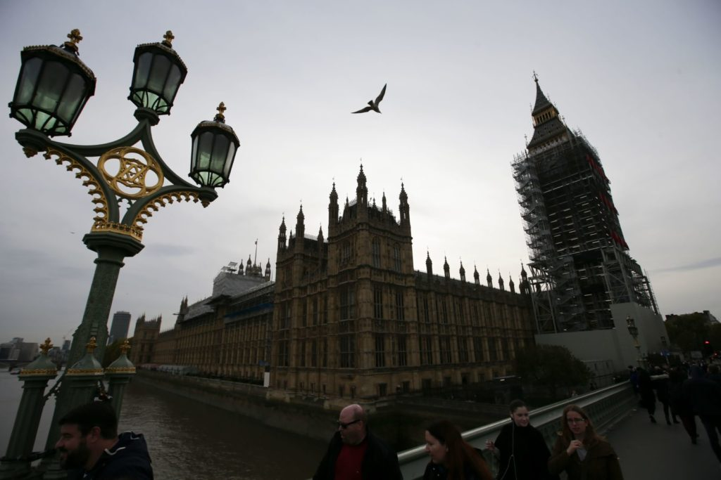 """The Houses of Parliament are seen in London on October 31, 2017. Prime Minister Theresa May came under pressure on Tuesday to take action against alleged sex pests in her own cabinet amid swirling rumours in Westminster about inappropriate behaviour by several lawmakers. Defence Secretary Michael Fallon apologised for putting his hand on a female journalist's knee in 2002 and the cabinet is investigating another minister, Mark Garnier, who asked his now former aide to buy him sex toys and called her """"sugar tits"""". British media have reported on the existence of a list of sexual allegations about around 40 Conservative MPs including six ministers that was apparently compiled by disgruntled former employees. / AFP PHOTO / Daniel LEAL-OLIVAS / The erroneous mention[s] appearing in the metadata of this photo by Daniel LEAL-OLIVAS has been modified in AFP systems in the following manner: [The Houses of Parliament are seen in London on October 31, 2017] instead of [Chancellor of the Exchequor Philip Hammond leaves his office in Downing Street...]. Please immediately remove the erroneous mention[s] from all your online services and delete it (them) from your servers. If you have been authorized by AFP to distribute it (them) to third parties, please ensure that the same actions are carried out by them. Failure to promptly comply with these instructions will entail liability on your part for any continued or post notification usage. Therefore we thank you very much for all your attention and prompt action. We are sorry for the inconvenience this notification may cause and remain at your disposal for any further information you may require. (Photo credit should read DANIEL LEAL-OLIVAS/AFP/Getty Images)"""