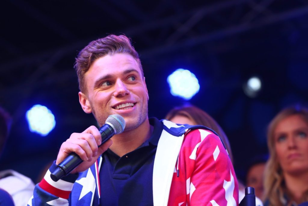 NEW YORK, NY - NOVEMBER 01: skier Gus Kenworthy speaks during the 100 Days Out 2018 PyeongChang Winter Olympics Celebration - Team USA in Times Square on November 1, 2017 in New York City. (Photo by Mike Stobe/Getty Images for USOC)