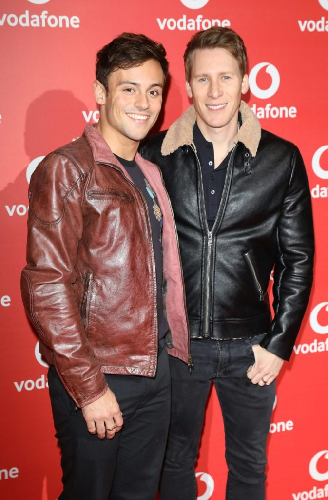 Tom Daley and Dustin Lance Black (Photo by Tim P. Whitby/Tim P. Whitby/Getty Images)