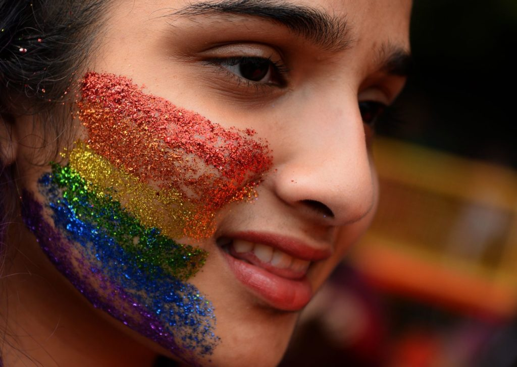An Indian supporter of the lesbian, gay, bisexual, transgender (LGBT) community takes part in a pride parade in New Delhi on November 12, 2017. Hundreds of members of the LGBT community marched through the Indian capital for the 10th annual Delhi Queer Pride Parade. / AFP PHOTO / SAJJAD HUSSAIN (Photo credit should read SAJJAD HUSSAIN/AFP/Getty Images)