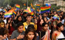 LGBT+ activists at Delhi Pride, 2017. (Photo: SAJJAD HUSSAIN/AFP/Getty Images)