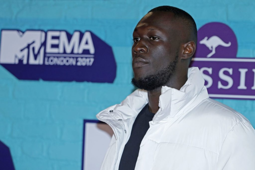 LONDON, ENGLAND - NOVEMBER 12: Rapper Stormzy attends the MTV EMAs 2017 held at The SSE Arena, Wembley on November 12, 2017 in London, England. (Photo by Andreas Rentz/Getty Images for MTV)