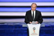 Russian President Vladimir Putin speaks prior to the start of the Final Draw for the 2018 FIFA World Cup football tournament (MLADEN ANTONOV/AFP/Getty Images)