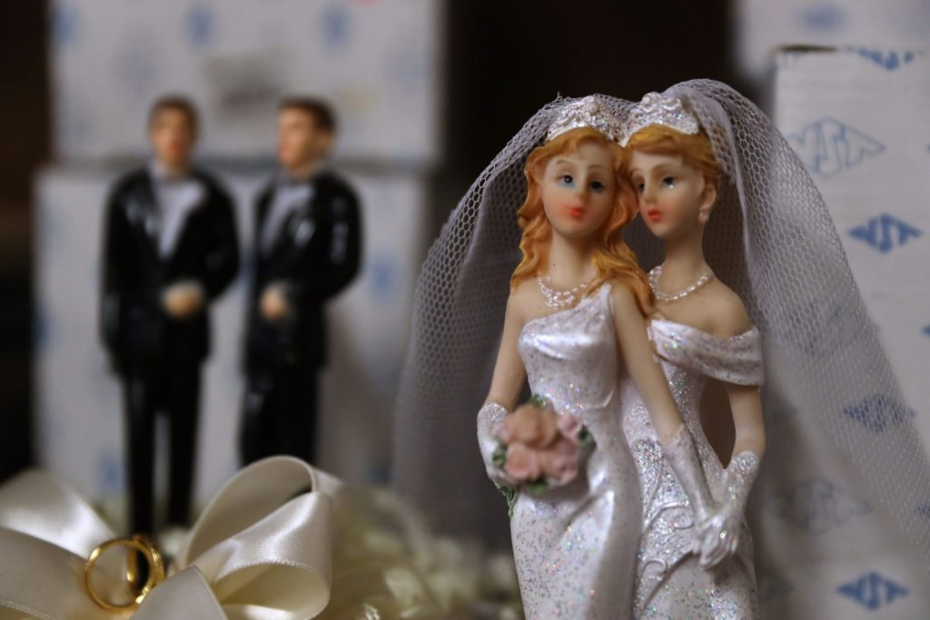 SAN FRANCISCO, CA - DECEMBER 05: Same-sex marriage cake toppers are displayed on a shelf at Fantastico on December 5, 2017 in San Francisco, California. The U.S. Supreme Court is hearing a civil rights case over a Colorado baker's refusal to make a wedding cake for a same-sex couple. (Photo by Justin Sullivan/Getty Images)
