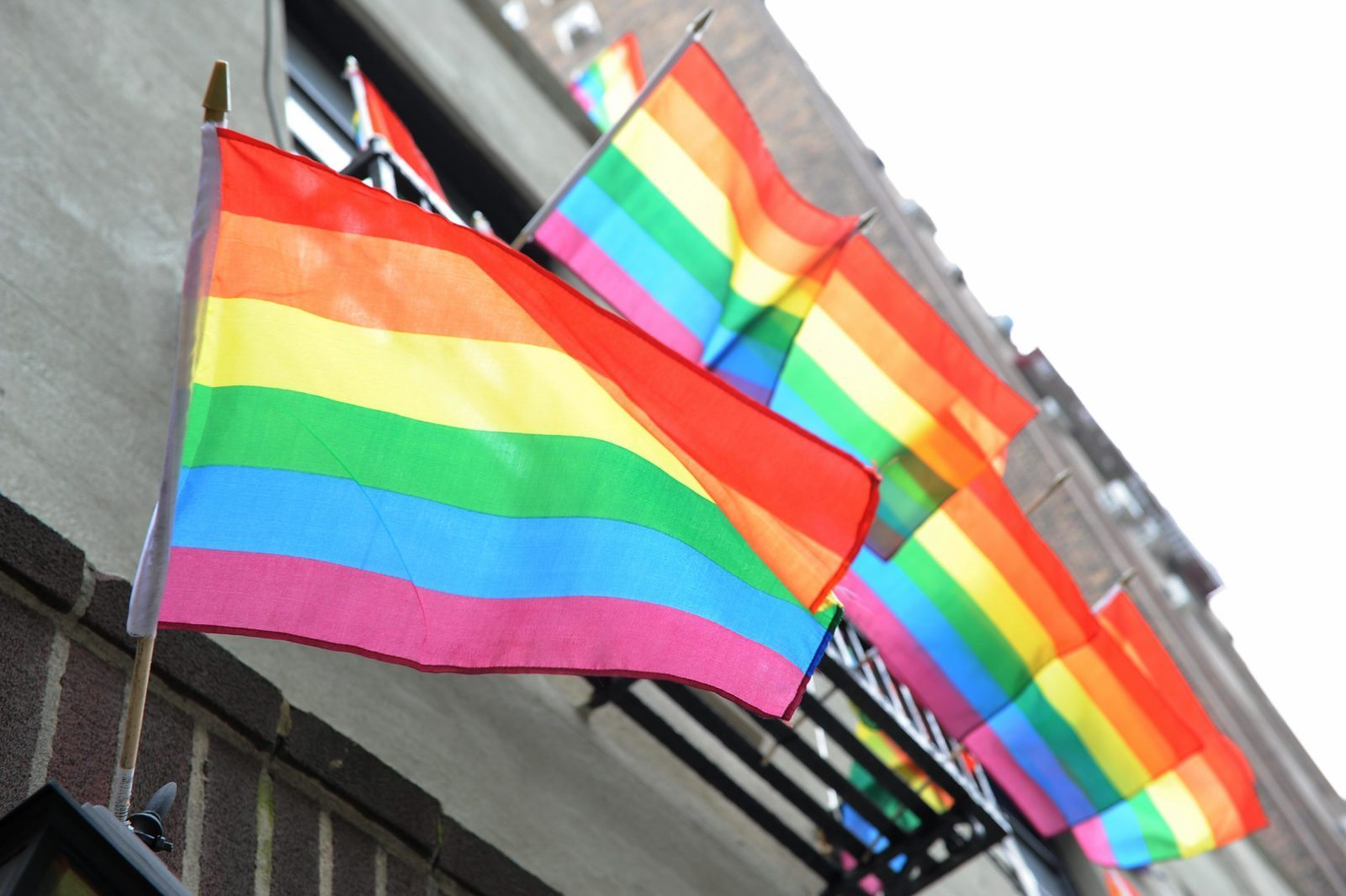 LGBT+ Pride flags flutter in the breeze from a building