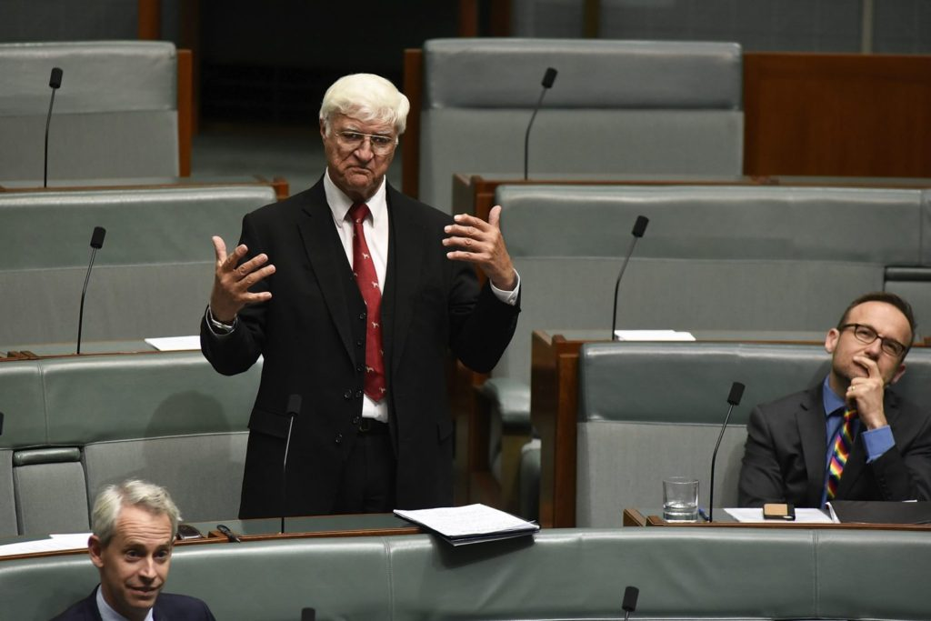 CANBERRA, AUSTRALIA - DECEMBER 07: Bob Katter speaking for an amendment to the marriage eqaulity bill at Parliament House on December 7, 2017 in Canberra, Australia. After the Marriage Equality Bill was passed by the Senate last week, 43 votes to 12, the House of Representatives is expected to pass the legislation on same-sex marriage by the end of the week. Australians voted 'Yes' in the Marriage Law Postal Survey for the law to be changed. (Photo by Michael Masters/Getty Images)
