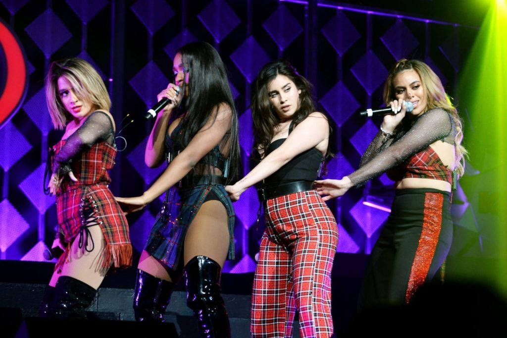 BOSTON, MA - DECEMBER 10: (L-R) Ally Brooke, Normani Kordei, Lauren Jauregui and Dinah Jane of Fifth Harmony perform onstage during KISS 108's Jingle Ball 2017 presented by Capital One at TD Garden on December 10, 2017 in Boston, Mass. (Photo by Darren McCollester/Getty Images for iHeartMedia )
