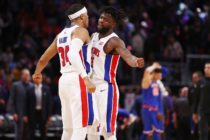 DETROIT, MI - DECEMBER 22: Reggie Bullock #25 of the Detroit Pistons celebrates a 104-101 win over the New York Knicks with Tobias Harris #34 at Little Caesars Arena on December 22, 2017 in Detroit, Michigan. NOTE TO USER: User expressly acknowledges and agrees that, by downloading and or using this photograph, User is consenting to the terms and conditions of the Getty Images License Agreement. (Photo by Gregory Shamus/Getty Images)