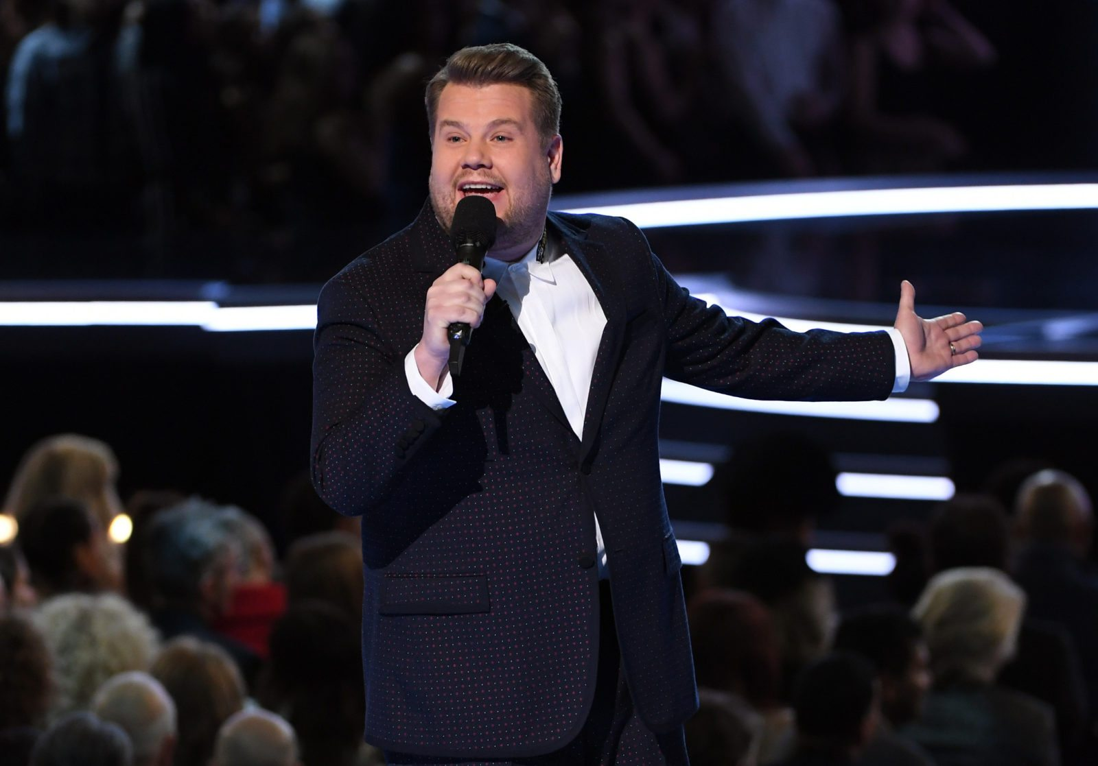 NEW YORK, NY - JANUARY 28: Host James Corden speaks onstage during the 60th Annual GRAMMY Awards at Madison Square Garden on January 28, 2018 in New York City. (Photo by Kevin Winter/Getty Images for NARAS)