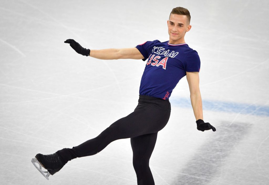 US skater Adam Rippon practices at Gangneung Ice Arena ahead of the team event of the men's figure skating before the Pyeongchang 2018 Winter Olympic Games in Gangneungon (Photo by MLADEN ANTONOV/AFP/Getty Images)