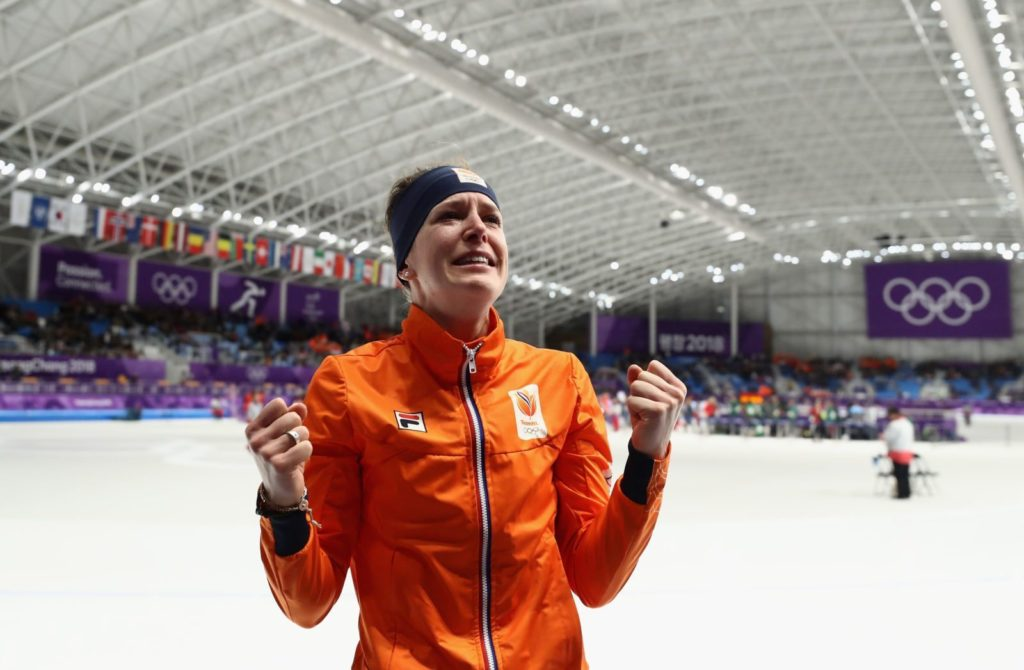 GANGNEUNG, SOUTH KOREA - FEBRUARY 12: Ireen Wust of The Netherlands celebrates winning the gold medal during the Ladies 1,500m Long Track Speed Skating final on day three of the PyeongChang 2018 Winter Olympic Games at Gangneung Oval on February 12, 2018 in Gangneung, South Korea. (Photo by Ronald Martinez/Getty Images)