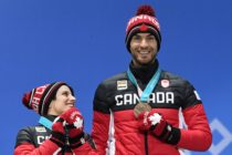 Canada's bronze medallists Meagan Duhamel (L) and Eric Radford pose on the podium during the medal ceremony for the figure skating pair event at the Pyeongchang Medals Plaza during the Pyeongchang 2018 Winter Olympic Games in Pyeongchang on February 15, 2018. / AFP PHOTO / Dimitar DILKOFF (Photo credit should read DIMITAR DILKOFF/AFP/Getty Images)