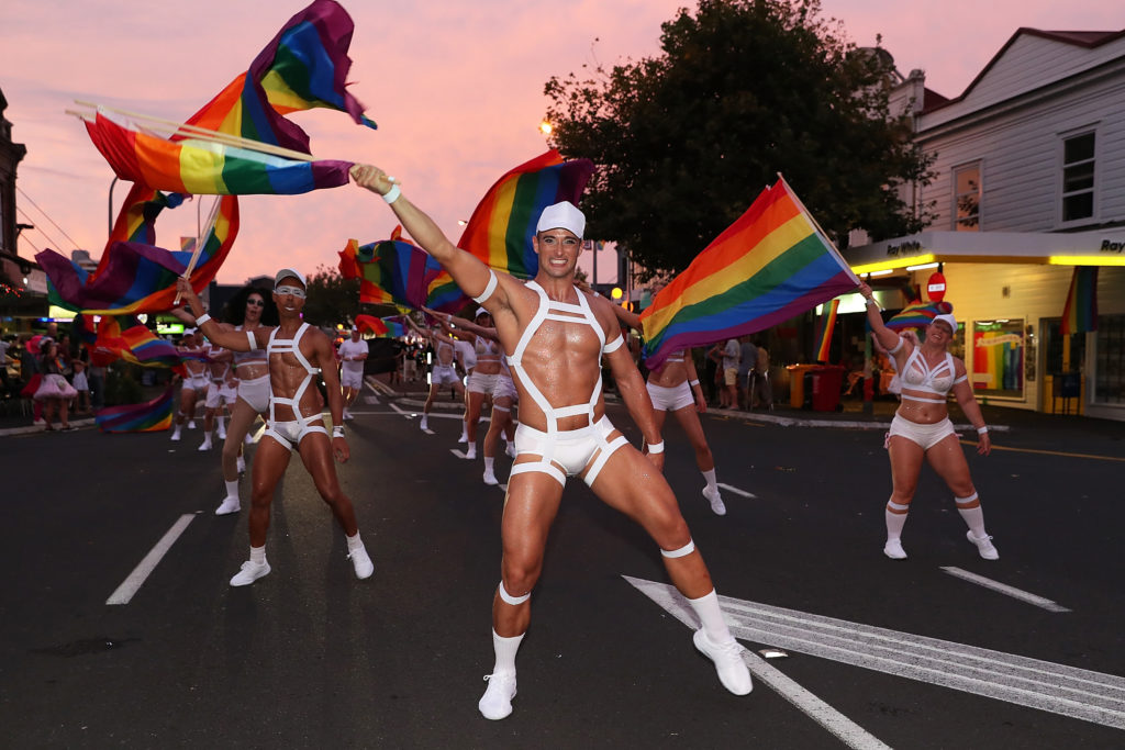 Dancers march at Auckland Pride on February 17, 2018.