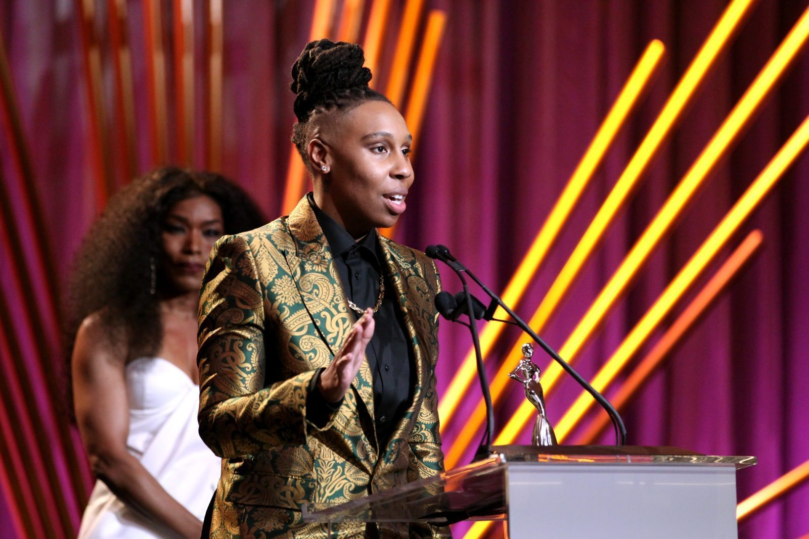 BEVERLY HILLS, CA - MARCH 01: Honoree Lena Waithe speaks onstage during the 2018 Essence Black Women In Hollywood Oscars Luncheon at Regent Beverly Wilshire Hotel on March 1, 2018 in Beverly Hills, California. (Photo by Leon Bennett/Getty Images for Essence)