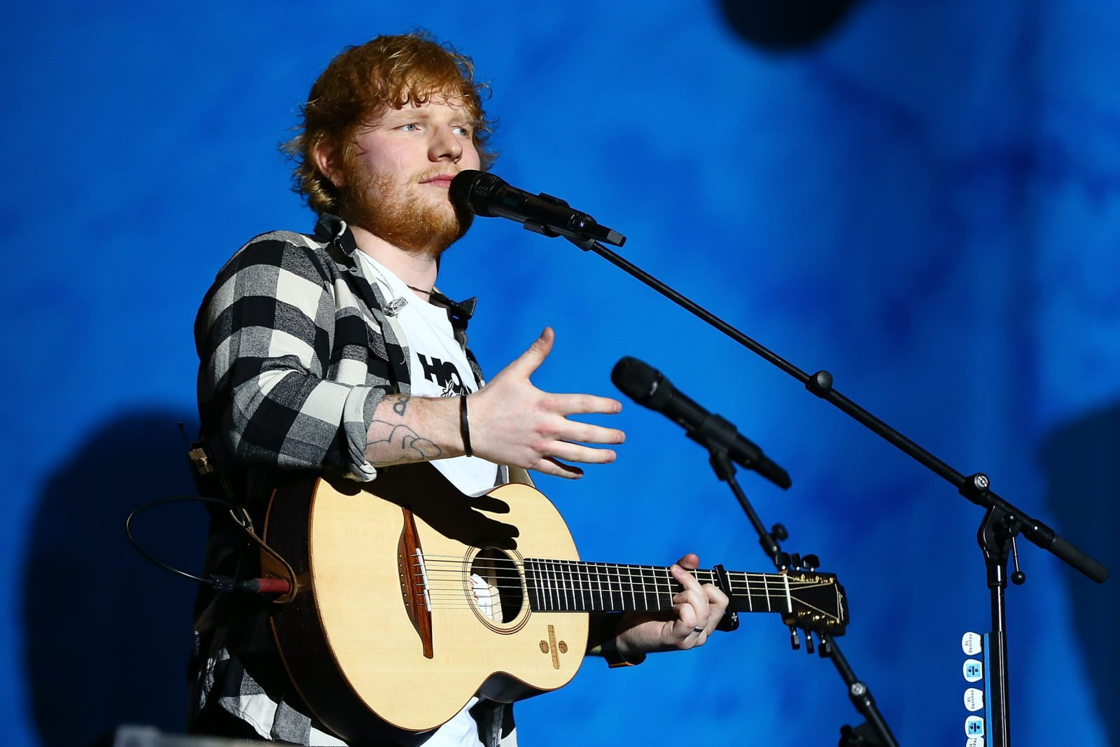 PERTH, AUSTRALIA - MARCH 02: Ed Sheeran interacts with concert-goers during his concert on the opening night of his Australian tour at Optus Stadium on March 2, 2018 in Perth, Australia. (Photo by Paul Kane/Getty Images)