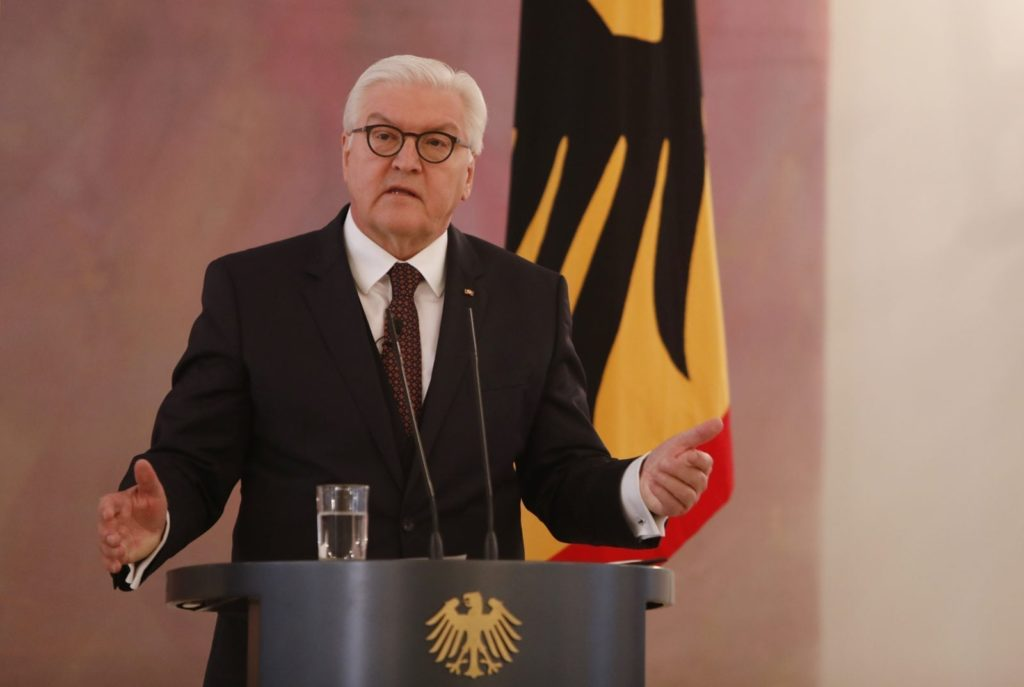 BERLIN, GERMANY - MARCH 14: German President Frank-Walter Steinmeier speaks during a ceremony to confirm the members of the new German government cabinet at Schloss Bellevue palace on March 14, 2018 in Berlin, Germany. Members of the new German government, a coalition between Christian Democrats (CDU/CSU) and Social Democrats (SPD), were sworn in today and will begin work immediately. The new government took the longest to create of any government in modern German history following elections last September that left the German Christian Democrats (CDU) as the strongest party but with too few votes in order to have a strong hand in determining the next coalition. (Photo by Michele Tantussi/Getty Images)