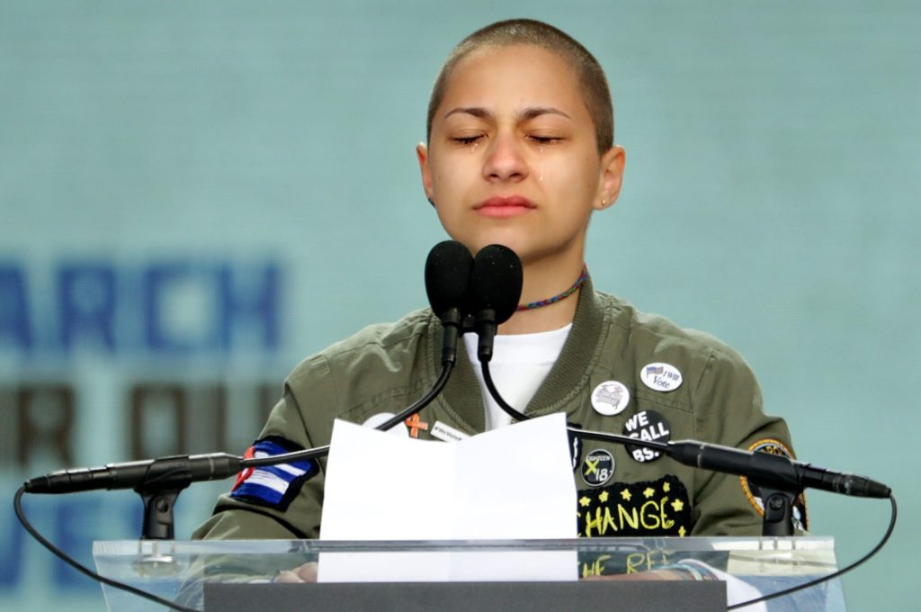 WASHINGTON, DC - MARCH 24: Tears roll down the face of Marjory Stoneman Douglas High School student Emma Gonzalez as she observes 6 minutes and 20 seconds of silence while addressing the March for Our Lives rally on March 24, 2018 in Washington, DC. Hundreds of thousands of demonstrators, including students, teachers and parents gathered in Washington for the anti-gun violence rally organized by survivors of the Marjory Stoneman Douglas High School shooting on February 14 that left 17 dead. More than 800 related events are taking place around the world to call for legislative action to address school safety and gun violence. (Photo by Chip Somodevilla/Getty Images)