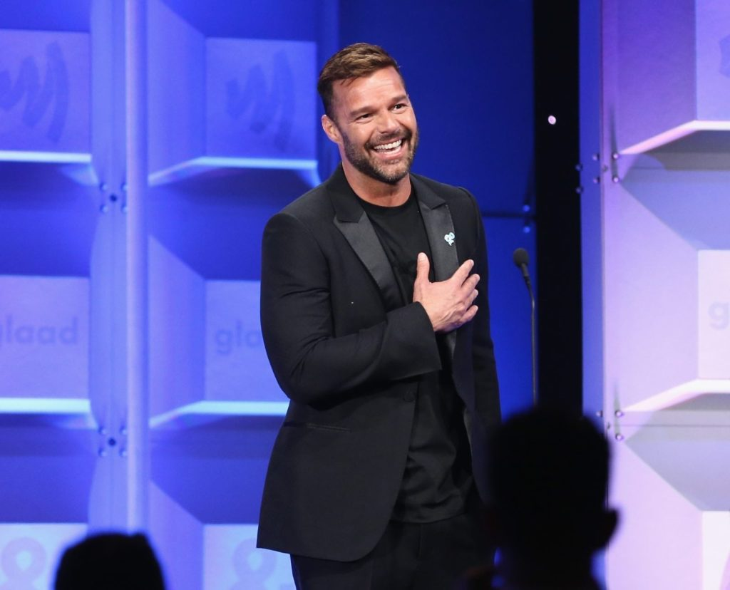 BEVERLY HILLS, CA - APRIL 12: Ricky Martin presents Vanguard Award to artis Britney Spears at the 29th Annual GLAAD Media Awards Los Angeles, in partnership with LGBTQ ally, Ketel One Family-Made Vodka at The Beverly Hilton Hotel on April 12, 2018 in Beverly Hills, California. (Photo by Rich Polk/Getty Images for Ketel One Family-Made Vodka)
