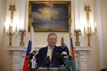 Russian Ambassador Alexander Yakovenko addresses journalists at a news conference in central London on April 20, 2018. (Photo by Daniel LEAL-OLIVAS / AFP) (Photo credit should read DANIEL LEAL-OLIVAS/AFP/Getty Images)