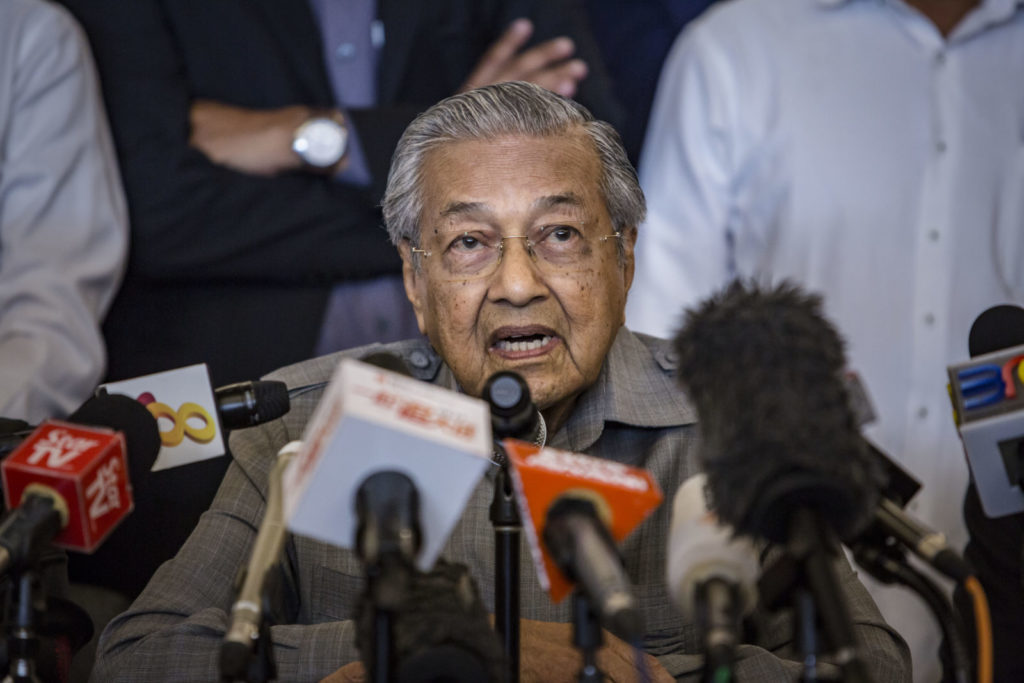 KUALA LUMPUR, MALAYSIA - MAY 10: Mahathir Mohamad, chairman of 'Pakatan Harapan' (The Alliance of Hope), speaks during press conference following the 14th general election on May 10, 2018 in Kuala Lumpur, Malaysia. Malaysia's opposition leader Mahathir Mohamad claimed victory over Prime Minister Najib Razak's ruling coalition Barisan National and set to become the world's oldest elected leader after Wednesday's general election where millions of Malaysians headed to the polls. The election has been one of the most fiercely contested races in Malaysia's history, which resulted in a shocking victory as 92-year-old Mahathir made a comeback from retirement to take on his former protege Najib, who has been embroiled in a massive corruption scandal. (Photo by Ulet Ifansasti/Getty Images)