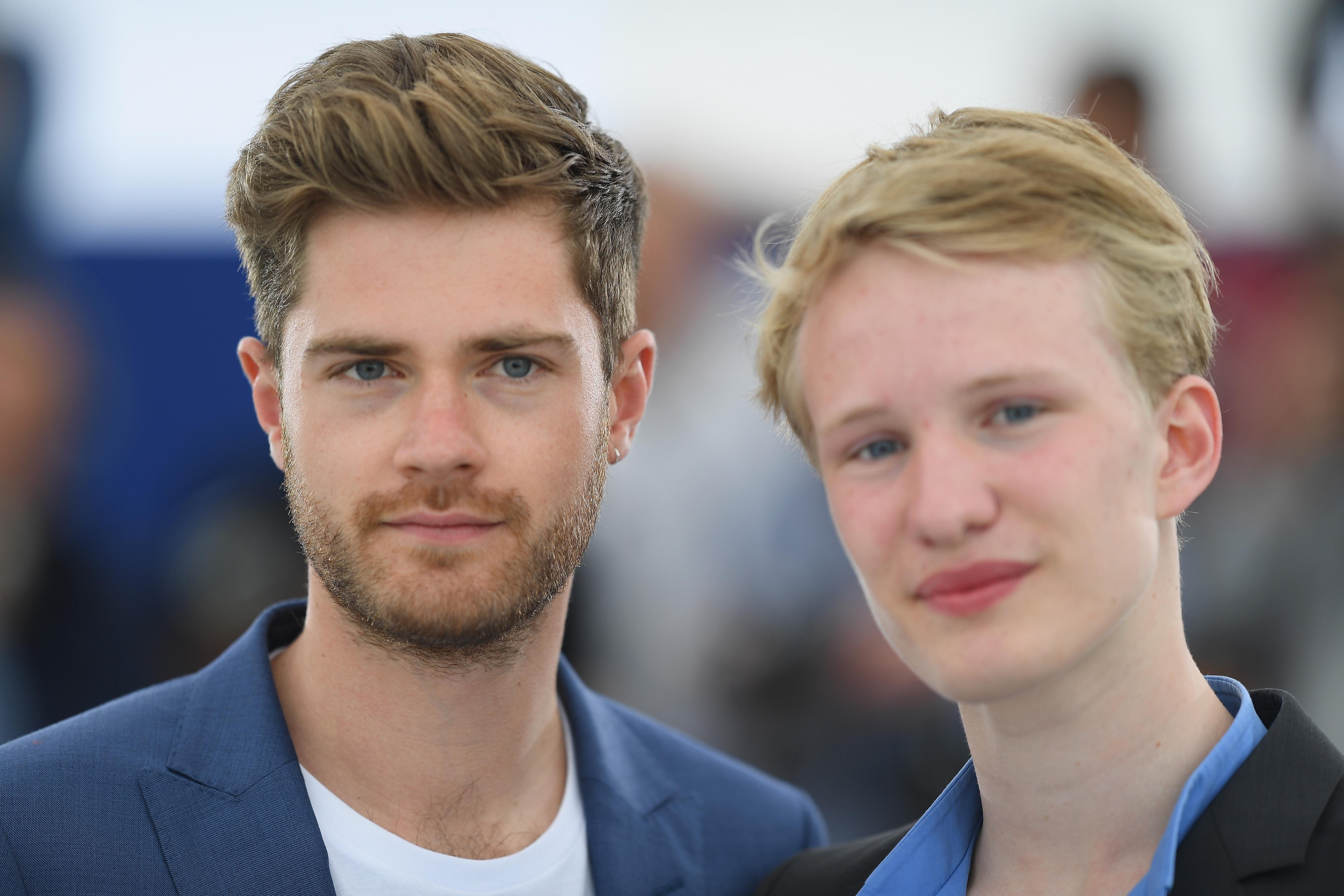 "Director Lukas Dhont (L) and actor Victor Polster attend the photocall for ""Girl"" during the 71st annual Cannes Film Festival at Palais des Festivals on May 13, 2018 in Cannes, France."