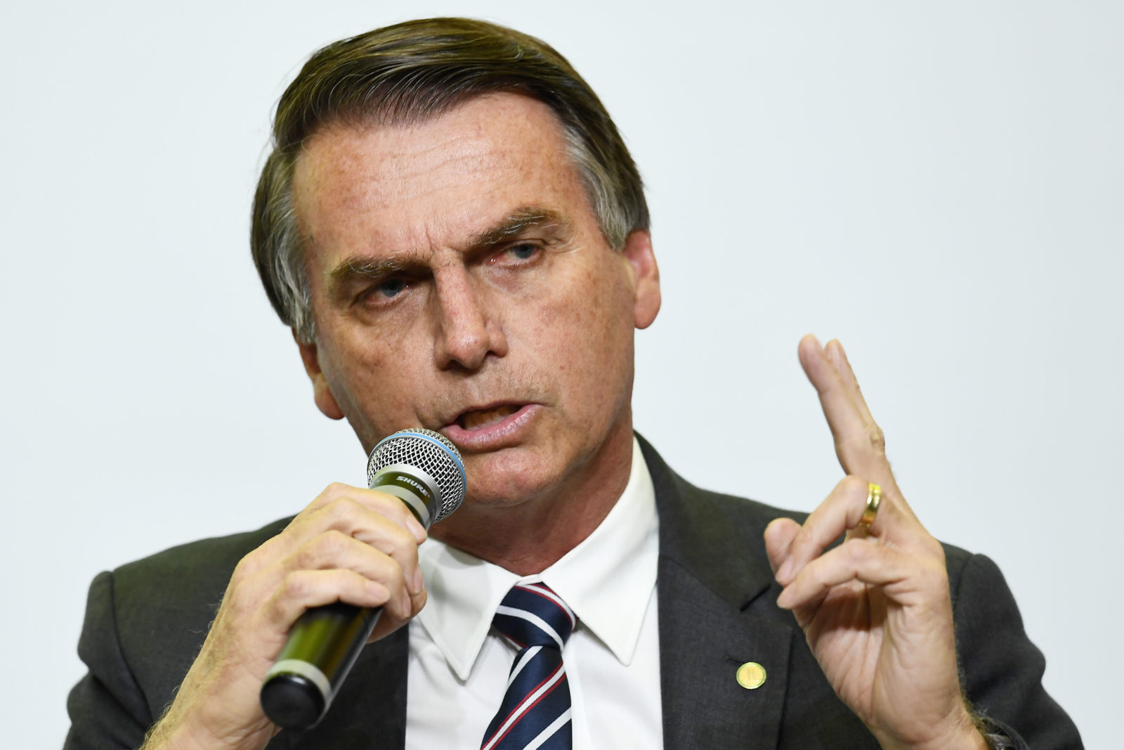 Jair Bolsonaro, presidential candidate for the Social Liberal Party, attends an interview for Correio Brazilianse newspaper in Brasilia on June 6, 2018. - Brazil holds general elections in October. (Photo by EVARISTO SA / AFP) LGBT+ rights (Photo credit should read EVARISTO SA/AFP/Getty Images)