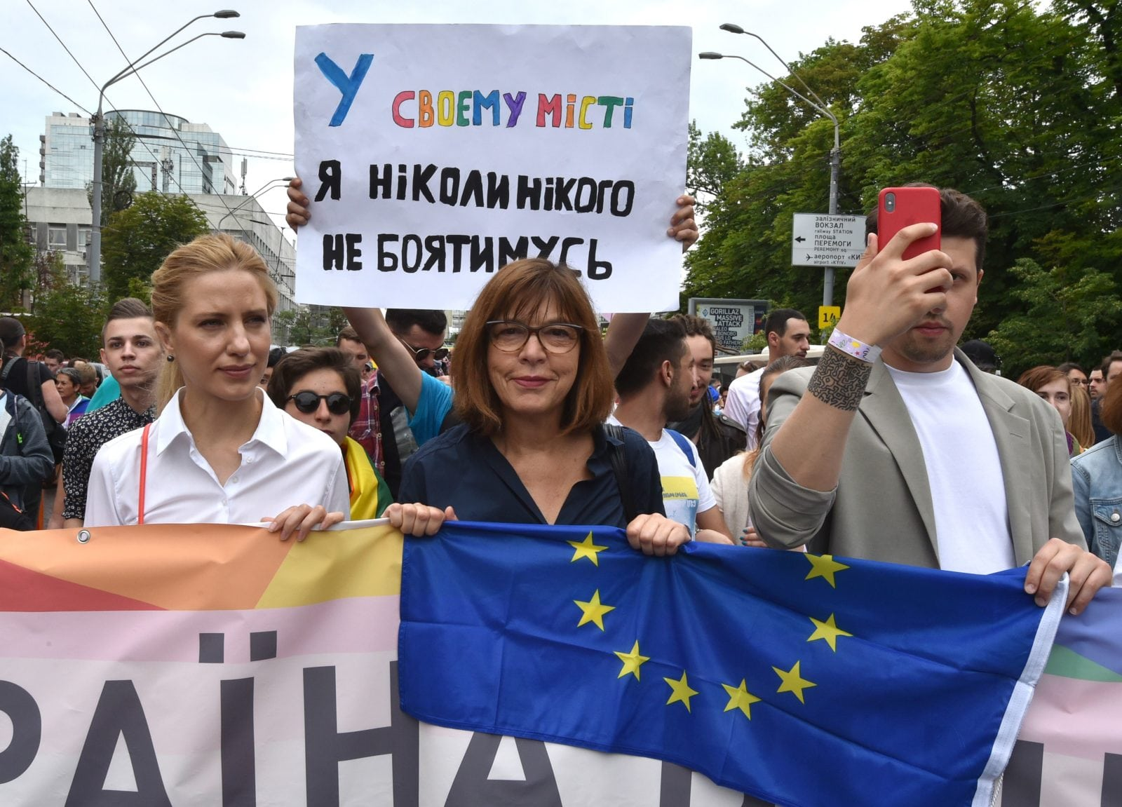 Member of the European Parliament Rebecca Harms takes part in the Pride march in central Kyiv last month (GENYA SAVILOV/AFP/Getty)