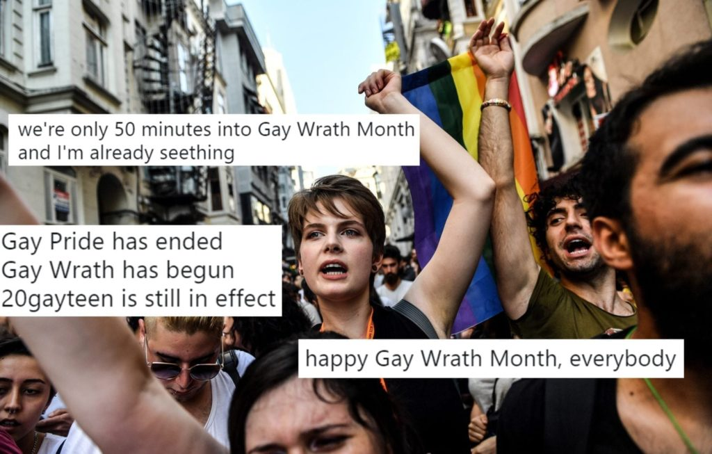 LGBT rights activists shout slogans as they take part in a march on July 1, 2018 in Istanbul, after Turkish authorities banned the annual Gay Pride Parade for a fourth year in a row. - Around 1,000 people gathered on a street near Istiklal Avenue and Taksim Square where organisers wanted to originally hold the parade, an AFP photographer said. Police warned activists to disperse but used rubber bullets against some who tried to access Istiklal Avenue. (Photo by BULENT KILIC / AFP) (Photo credit should read BULENT KILIC/AFP/Getty Images)