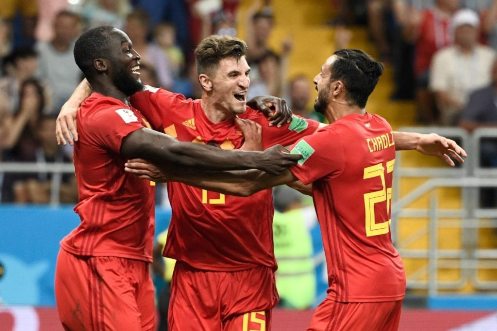 Belgium players Romelu Lukaku, Thomas Meunier and Nacer Chadli celebrate beating Japan (FILIPPO MONTEFORTE/AFP/Getty)