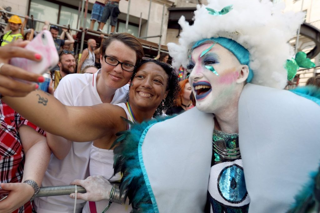 LONDON, ENGLAND - JULY 07: Parade goers during Pride In London on July 7, 2018 in London, England. It is estimated over 1 million people will take to the streets and approximately 30,000 people and 472 organisations will join the annual parade, which is one of the world's biggest LGBT+ celebrations. (