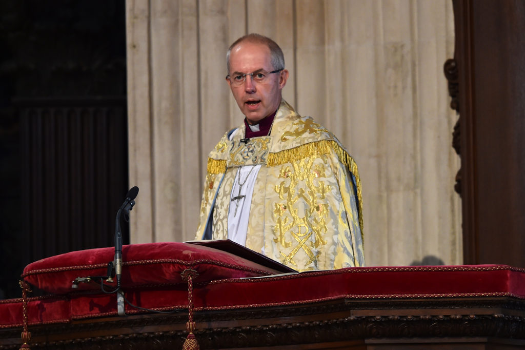 Archbishop of Canterbury Justin Welby speaks during a service of thanksgiving for Queen Elizabeth II's 90th birthday
