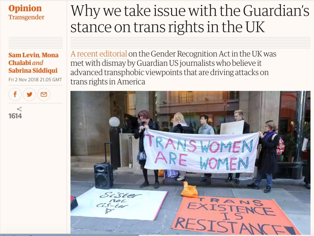 "Guardian US journalists denounce the newspaper's ""transphobic"" editorial on the Gender Recognition Act reform."