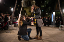 A lesbian couple got engaged at a Harry Potter event promoting Fantastic Beasts: The Crimes of Grindelwald.