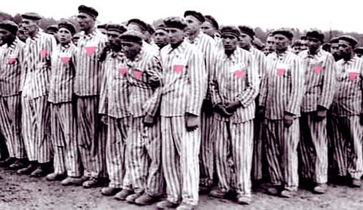 Pink triangle at concentration camp