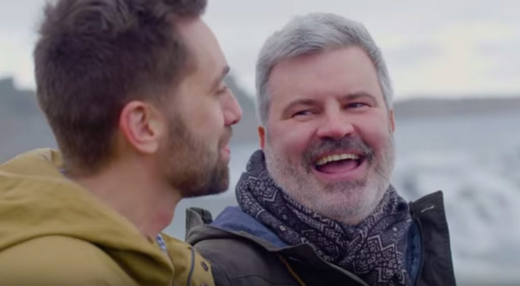 Icelandair ad with a same-sex couple