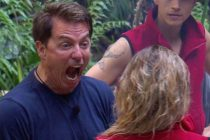 An angry-looking John Barrowman, who clashed with Noel Edmonds on I'm A Celebrity