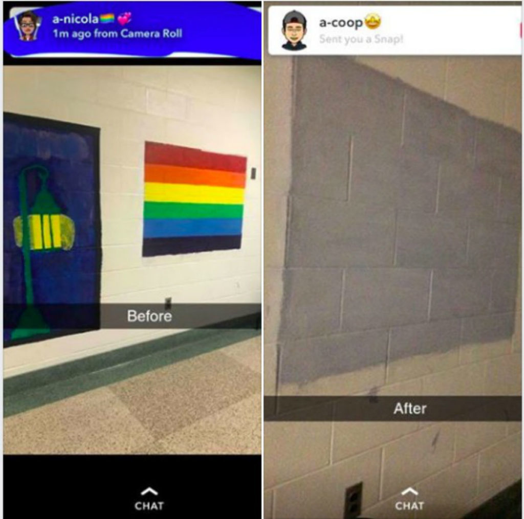 Justice Rane Leisten posted pictures of the Pride flag mural on Facebook.