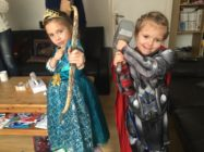 Lily (R) dressed as Thor while her sister Maya went for Brave's Merida.