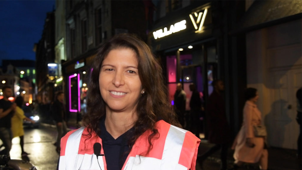 Marina, a Soho Angels volunteer, out on a Friday night (PinkNews)