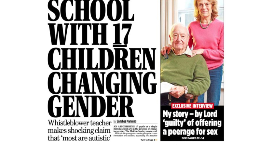 The Mail on Sunday front page.