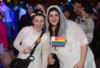 Couple celebrating same-sex marriage in Malta